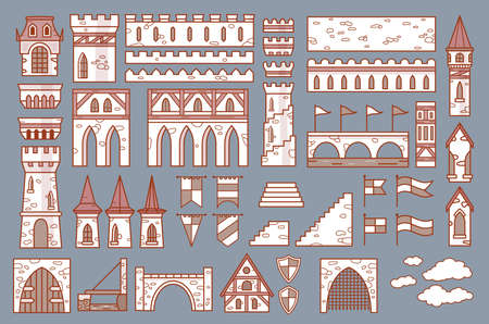 Castle constructor, fortress and medieval palace vector