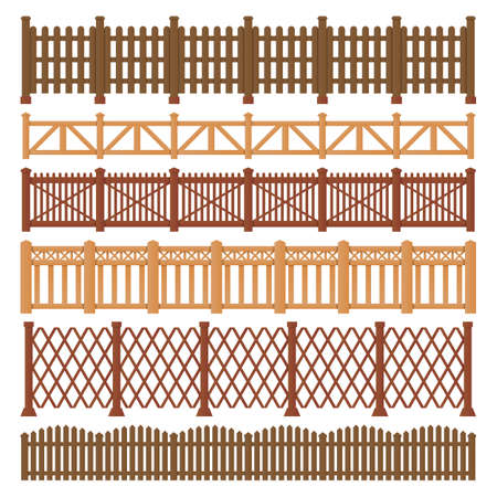 Wood fence, wooden gates of garden and farm house Ilustração