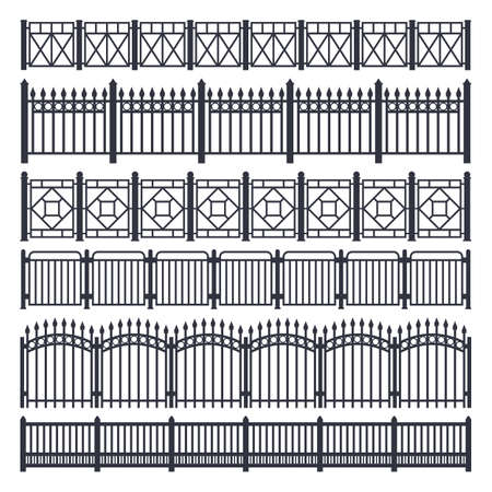 Metal fence and gate, iron steel railing barrier 向量圖像