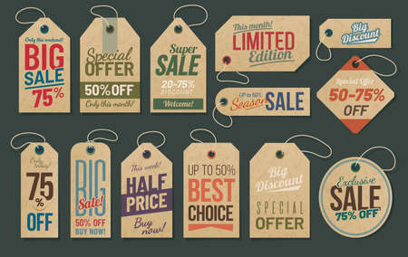 Sale tags, cardboard labels for discount promotion
