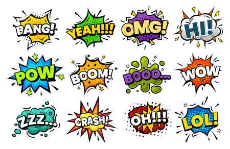 Sound blasts, comic pop art speech bubbles cartoon