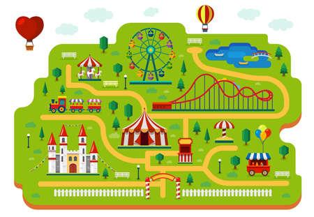 Amusement park map, funfair carnival rides plan