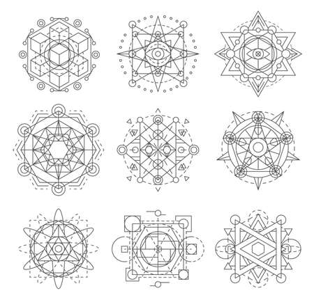 Sacred geometry symbols, esoteric astrology vector signs