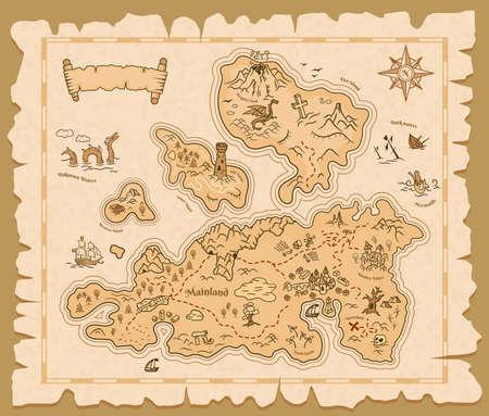 Treasure map old paper, pirate island adventure Ilustração
