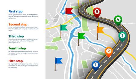 Navigation map with location pins, GPS route Ilustração