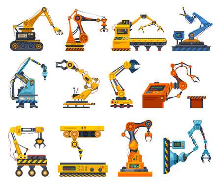 Arms robot, factory machine industry robotic hands Ilustração