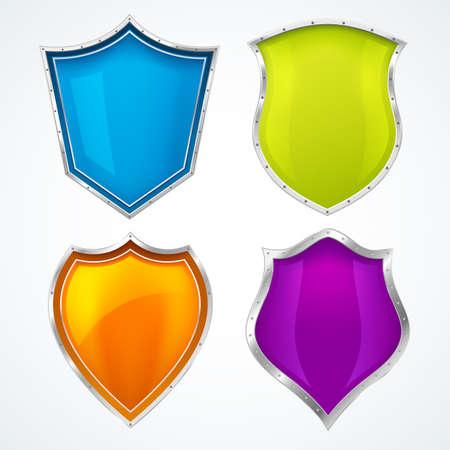 Shield icons, protect guard, defense badges glossy