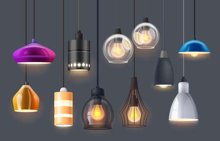 Lamp lights and chandelier bulbs, interior design Illustration