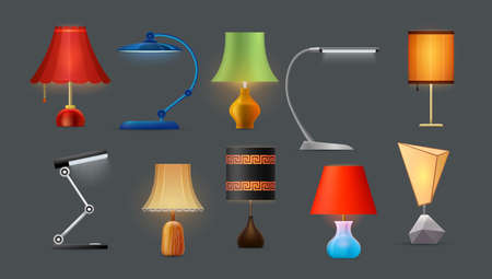 Lamps, table and desk lights, bedside lampshades Ilustração