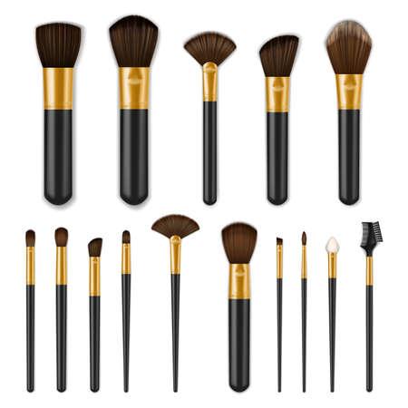 Makeup brushes realistic set, make up cosmetics Ilustração