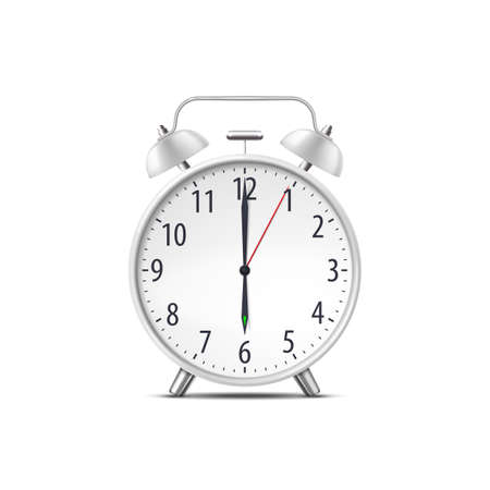 Alarm clock, realistic isolated classic time watch Çizim