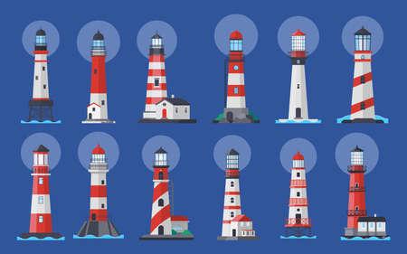 Lighthouse beacon searchlight, ship navigation vector illustration Ilustração