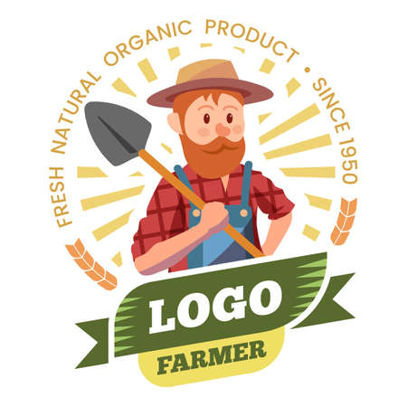 Farmer, farm products and organic food label Ilustração