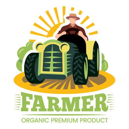 Farm and farmer, organic product premium label