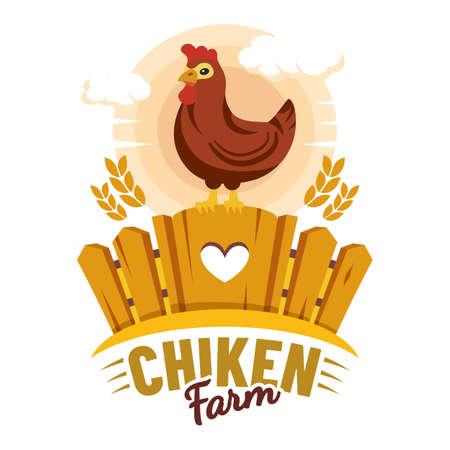 Chicken farm label, farmer organic product market