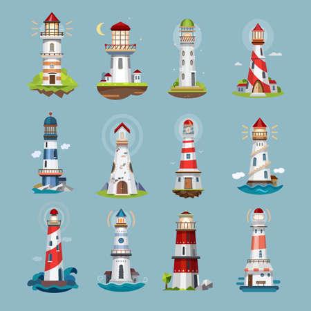 Lighthouse beacons, sea light house, cartoon icons