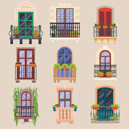 Balcony windows, house facade cartoon banisters vector