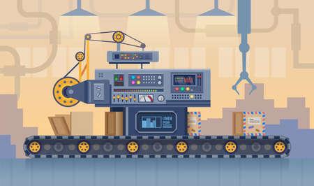 Conveyor belt, factory production line, cartoon vector