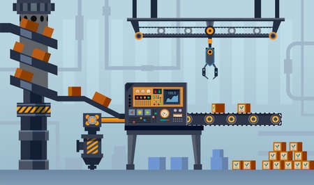 Factory conveyor line, machine belt, box assembly