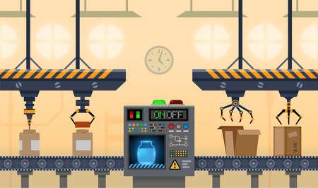 Conveyor factory, manufacture belt, product line vector Ilustração