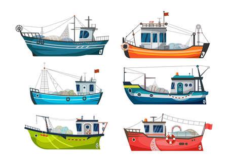 Boat, fishing ship or fisher trawler, fish catch