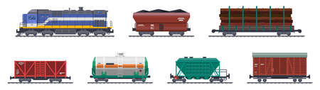 Train freight wagons, railway cargo containers vector 向量圖像