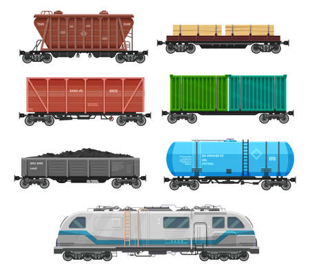 Train freight wagons, cargo box car containers