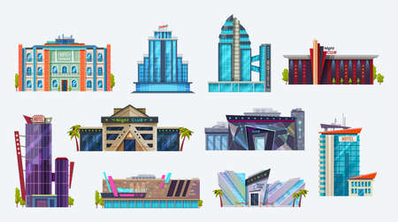 Buildings icons, city hotels and night clubs set