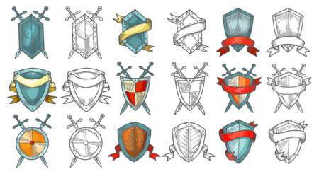 Set of retro or medieval shields sketches