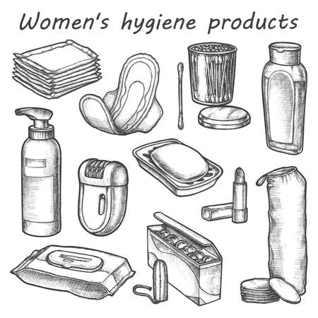 Woman hygiene products vector sketch. Bathroom items Ilustração