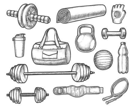 Vector sketch of gym, aerobics, powerlifting equipment Ilustração