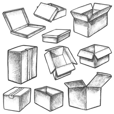 3d cube boxes or realistic cargo containers sketch Ilustração