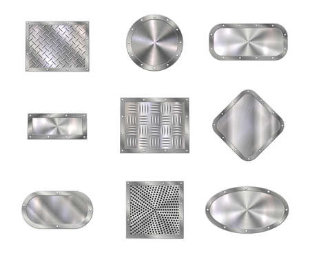 Metal plates on steel screw rivets, floor tiles