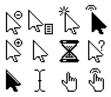 Set of pixel computer mouse cursor icons