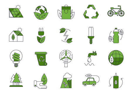 Set of vector eco icons or isolated ecology signs Ilustração