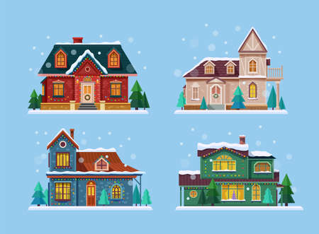 Buildings or houses set decorated vector illustration