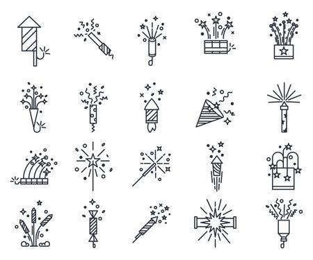 Vector fireworks or set of isolated salute, splash Ilustração