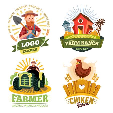 Farm and farmer labels, organic food bio products