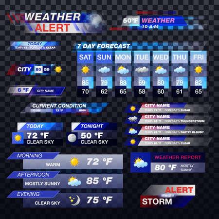 Weather forecast, TV report alert template widgets Ilustração