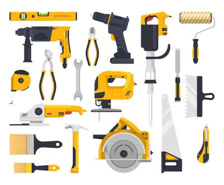Work tools set, construction, carpentry, woodwork vector Ilustração