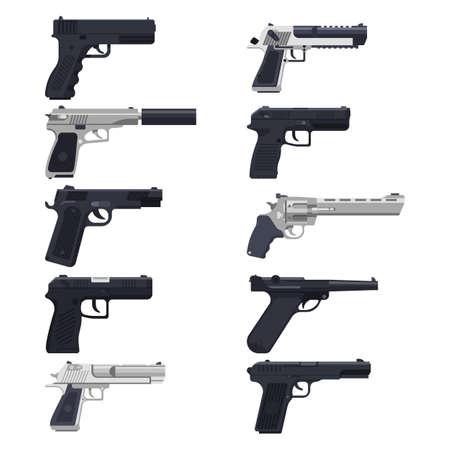 Guns, modern handguns, firearm pistols, revolvers vector