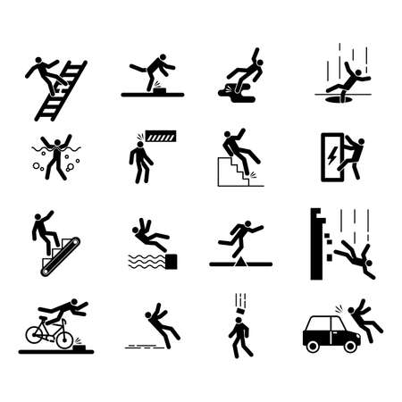 Accident icons, people injury caution safe warning  イラスト・ベクター素材