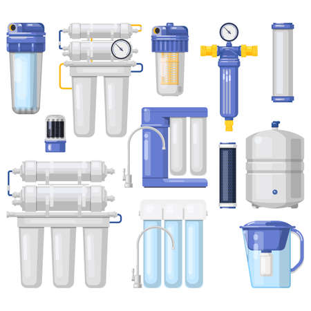 Water filters, purification and filtration systems vector