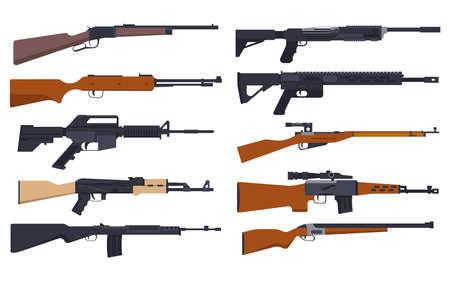 Rifle guns, military and hunting weapon types set Ilustração