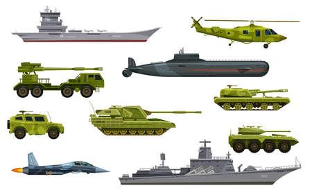 Military transport, army vehicles, war equipment vector Ilustração