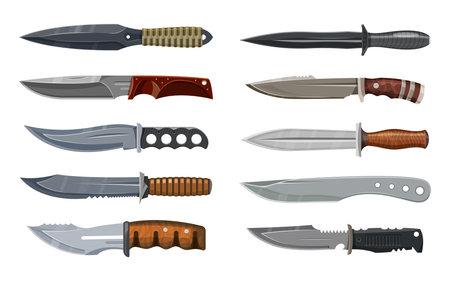 Knives set, military, hunting and combat weapon Ilustração