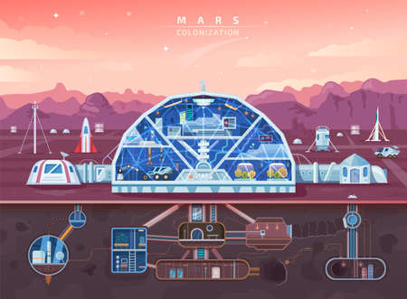 Mars colonization, space planet colony background vector