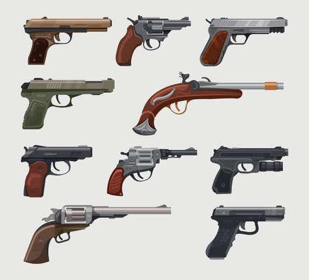 Guns, pistols, revolvers, vintage retro handguns vector Ilustração