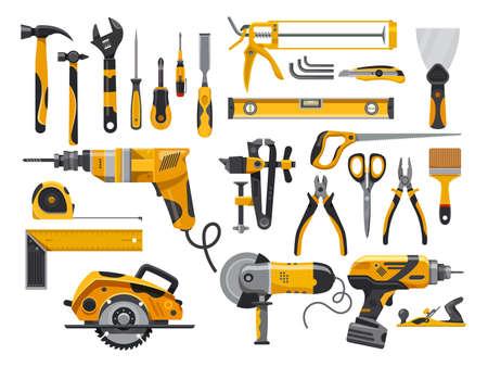 Work tools, construction and repair instruments vector Ilustração