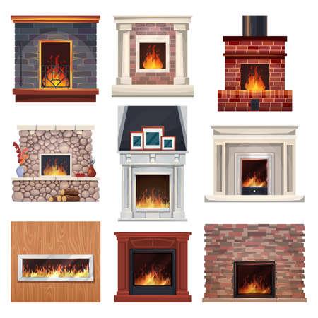 Fireplace and fire place wood, home interior decor Ilustração
